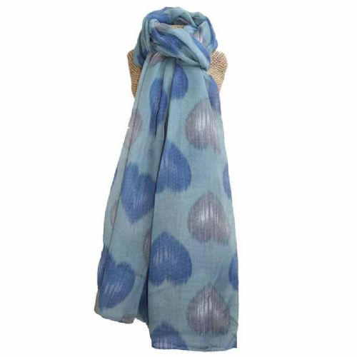 Lua Designs Faded Heart Print Beautiful Soft Scarf in Blue